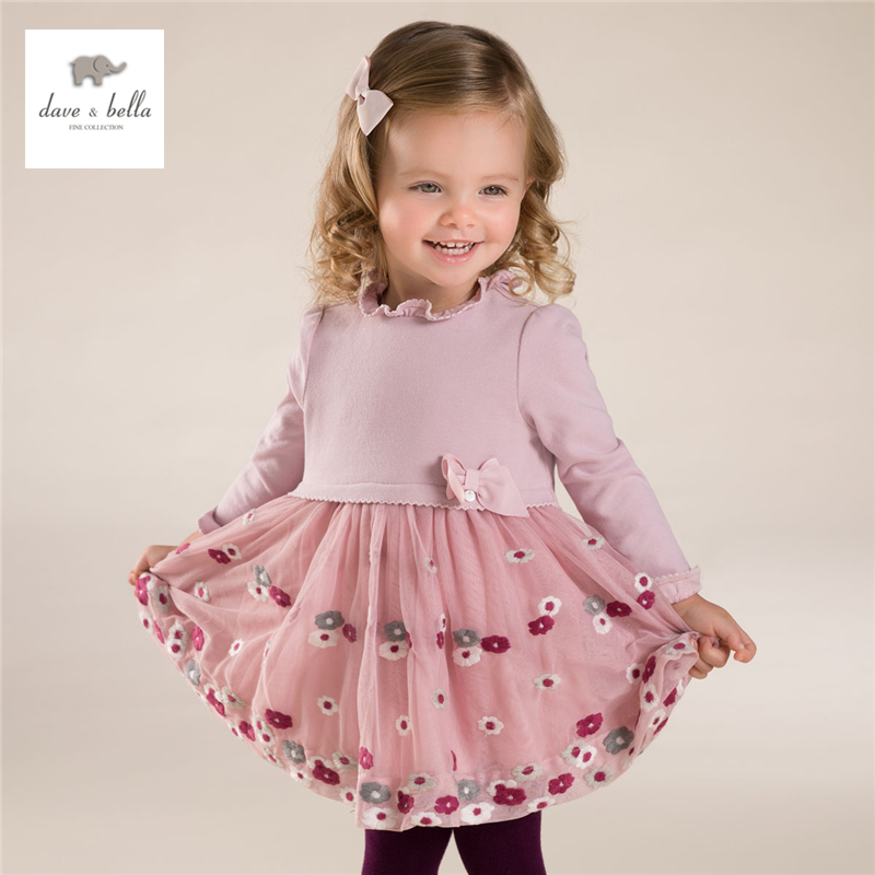 DB3955 dave bella  autumn baby girl bow dress infant clothes girls petal sleeve dress baby flower embroidery birthday dress