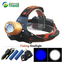 Dual Light Source Headlight 2x CREE Q5 White And Blue Light Led Headlamp Zoom Head Torch