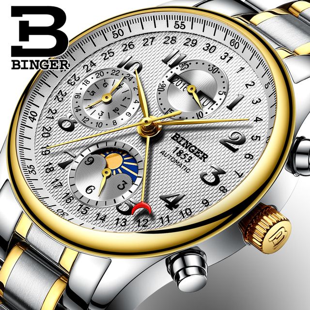 2018 NEW BINGER men's watch luxury brand Multiple functions Moon Phase sapphire Calendar Mechanical Wristwatches B-603-8 3