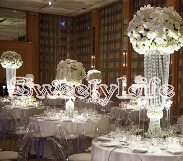 80cm Tall Acrylic Crystal Flower Stand For Wedding Table