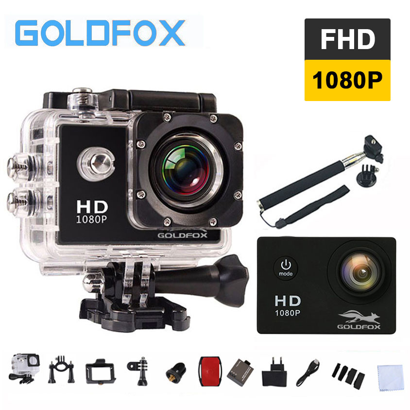 GOLDFOX 12MP 1080P Full HD Action Camera 30M Go Waterproof Pro Sport DV Bike Helmet Mini Video Camera Extra Battery Monopod