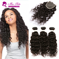 10A Brazilian WaterWave With Closure Cheap Hair Bundles 3Pcs Lot Wet And Wavy Virgin Brazilian Hair With Closure Remy Human Hair
