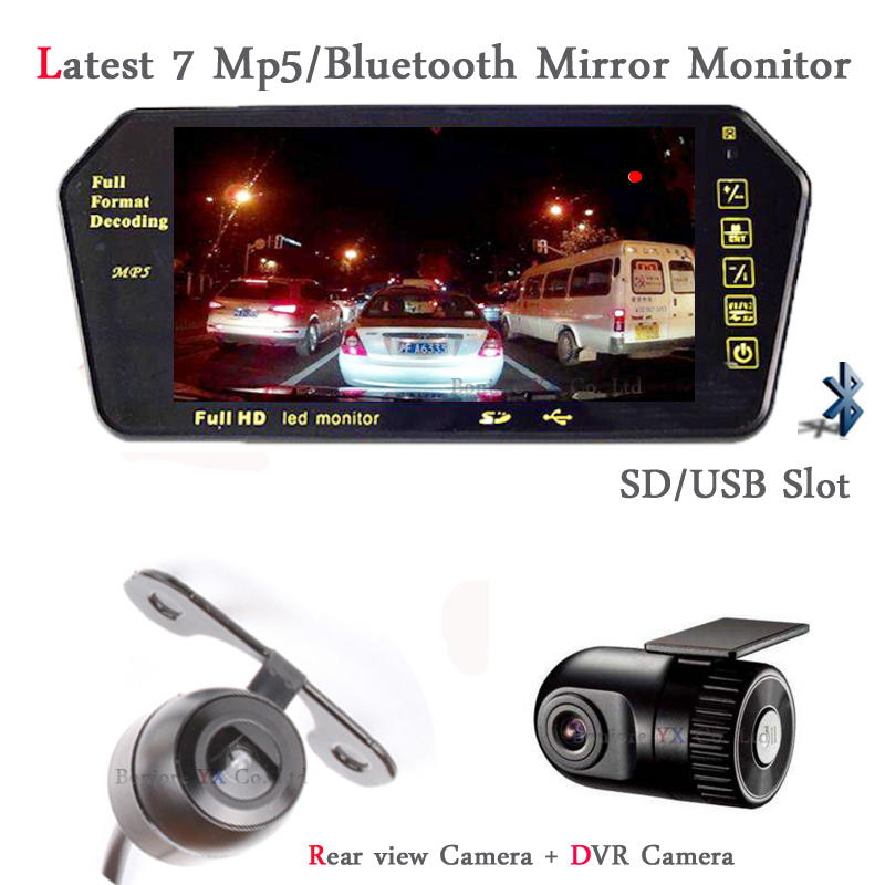Car DVR Recorder 7 inch Monitor bluetooth MP5 with SD/USB Slot Screen Car DVR Camera Dash Cam Video Input Auto Parktronic