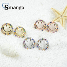 5Pairs,The Rainbow Series,The Smiling Face Shape Women Fashion Earrings.3 Colors, Can Wholesale