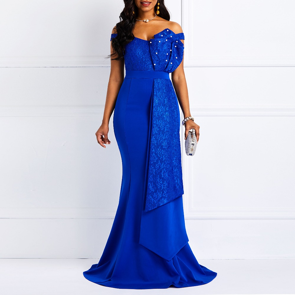 Women Off Shoulder Long Dress Sexy Mermaid Slash Neck Beads Skinny Prom Evening Fashion Plus Size Lace Elegant Party Maxi Dress(China)