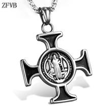 ZFVB Vintage Cross Saint Benedict Pendant Necklace Men 316L Stainless Steel Charm Pendants Mens Jewelry Bijoux