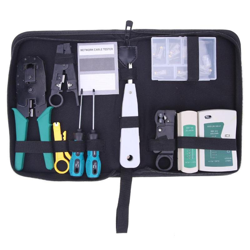 11pcs/set Computer Network Repair Tool Kit Portable LAN Cable Tester Wire Cutter Screwdriver Pliers Crimping Maintenance Tool