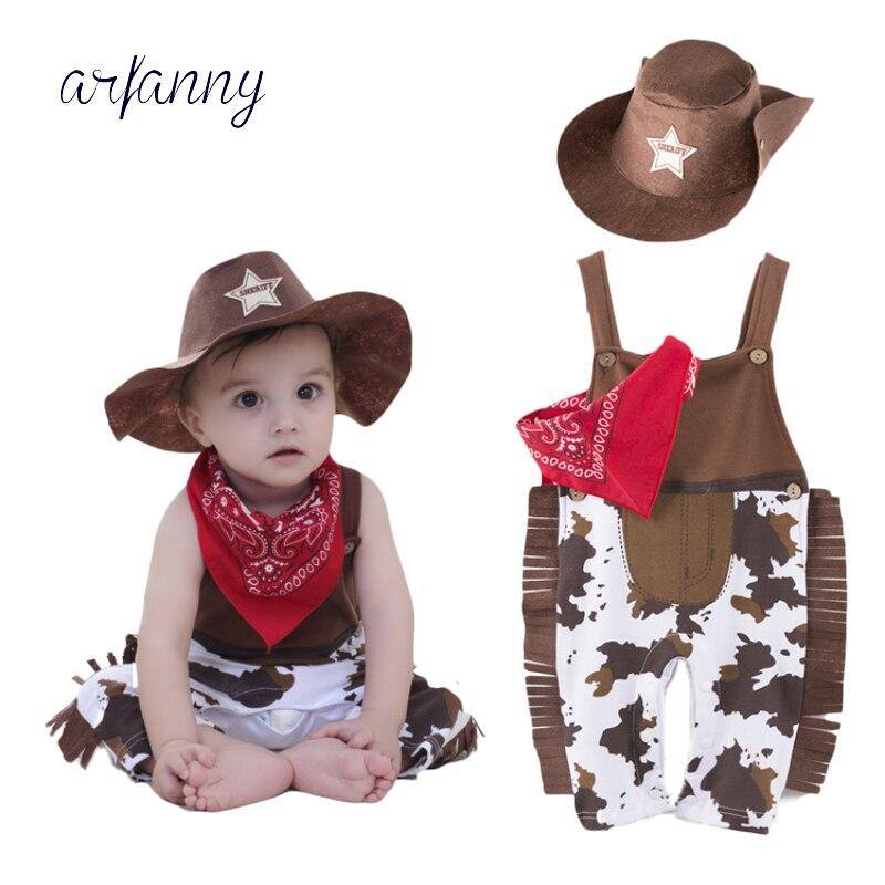 Bebê Meninos roupas definir chapéu + lenço + romper outfits Boy Roupas aniversário do Evento do dia das bruxas traje infantil criança cowboy 3 -peça Cotto