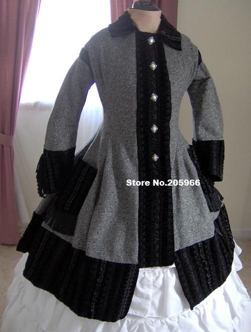 1860s Civil War Overcoat Jacket Black Gray Tweed Velvet ...