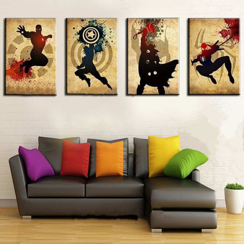 Hand Painted Canvas Oil Painting The Avengers Iron man Thor Captain America Spiderman Wall Art Decor 4 Panel Pictures Superhero