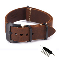 Carty Replacement Watch Band Strap Handmade Crazy Horse Leather Zulu Nato 20mm 22mm 24mm Black Brown