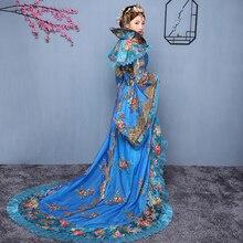 Китай древний Хан Тан династии Мин торжественное платье Королевский дворец Queen сказочной принцессы костюм для танцев красивый хвост костюм розовый