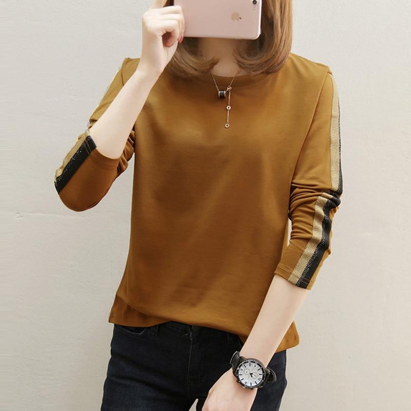 AOSSVIAO plus size t shirt women t-shirts loose 2019 new fashion o-neck long sleeve t shirt women tops cotton tee shirt femme