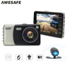 """Awesafe 4 """"IPS Видеорегистраторы для автомобилей Камера HD 1080 P dashcam Двойной объектив G-датчик обнаружения движения Авто регистратор парковка Мониторы тире Камера"""