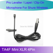 MICWL L4P New Tie Lavalier Lapel Microphone for Shure Wireless belt pack TA4F Mini XLR 4Pin