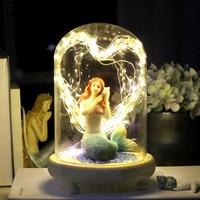Mermaid Night Lights Led String Light Glass Wood Fairy Night Lamp for Children Kids Baby Bedroom Bedside Home Decor Luminaria