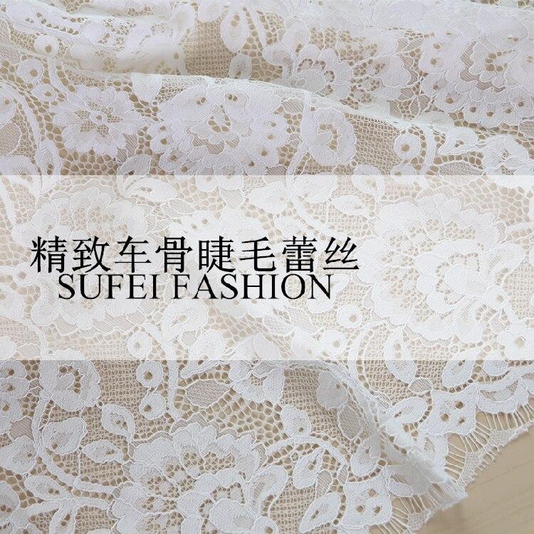 150*150 CM Polyester Baumwolle Wimpern Reinem Weiß Net Spitze Anzug Kleid Jacke Kleidung stoff S270