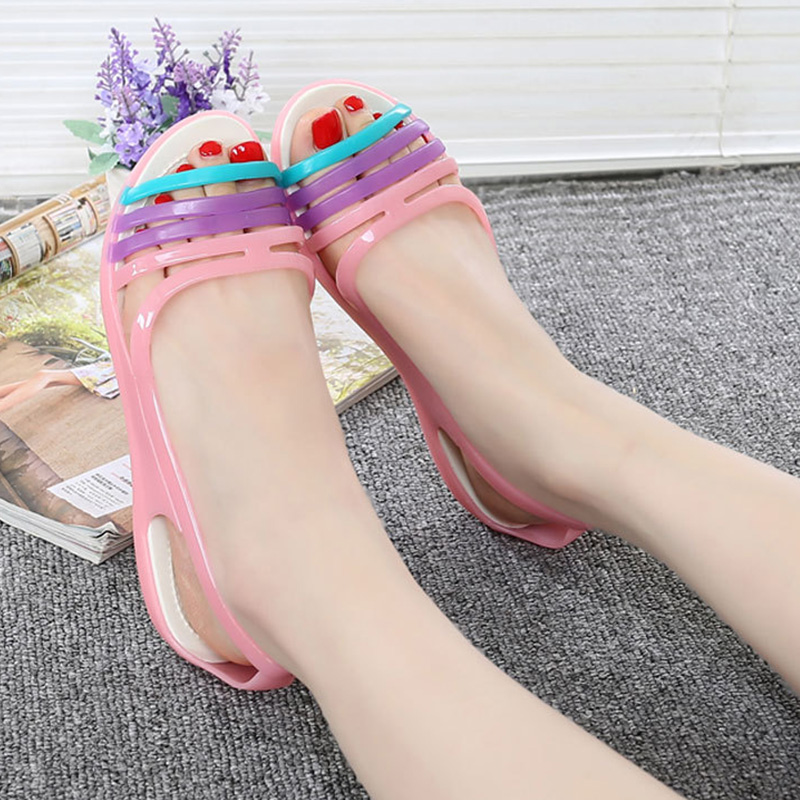 Quanzixuan 2018 New Women's Sandals Summer Shoes Woman Casual Rainbow Croc Jelly Shoes Flat Sandals Fashion Fish mouth Shoes new breathable crystal jelly net shoes bird nest woman sandals summer casual fashion shoes