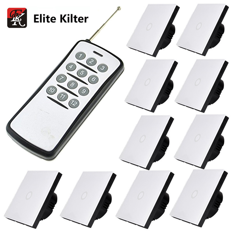 Elite Kilter EU/UK Standard Remote Control 220V Touch Switch 1 Gang 10 Ways Switch Sets White Crystal Glass For Wall Lights elite kilter eu uk standard remote control touch dimmer switch smart switch led dimmer switch for dimmable spot lights
