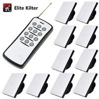Elite Kilter EU/UK Standard Remote Control 220V Touch Switch 1 Gang 10 Ways Switch Sets White Crystal Glass For Wall Lights