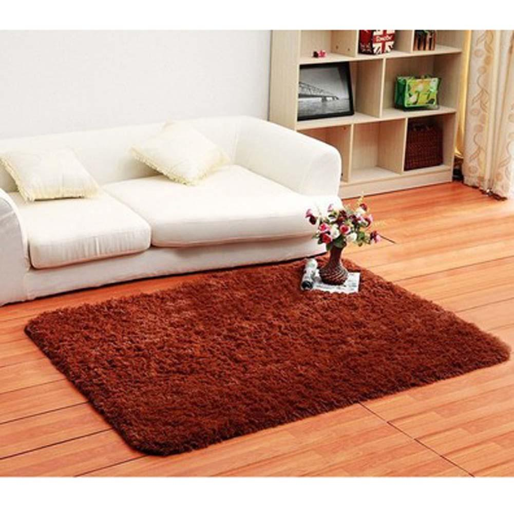Fluffy Rugs Anti Skiding Shaggy Area Rug Dining Room Carpet Floor Mats Brown