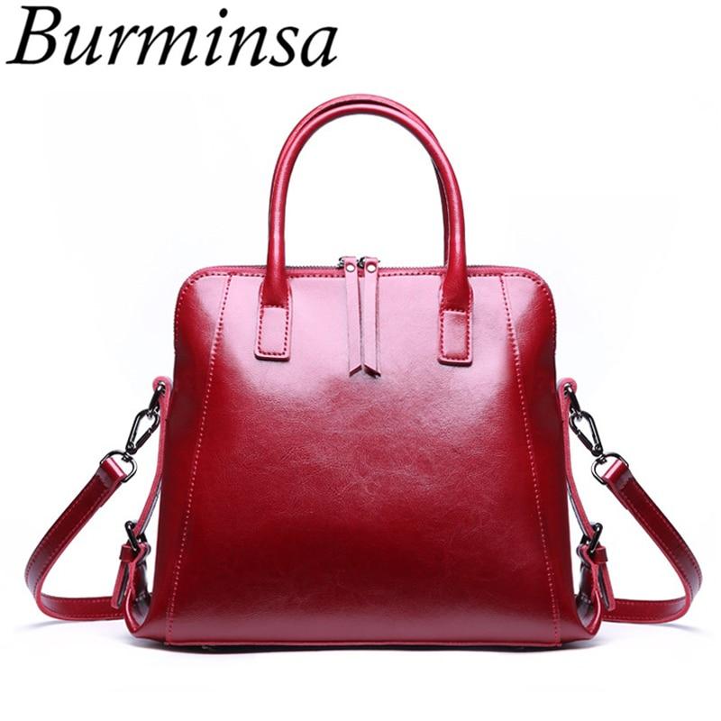 Burminsa Bride Wedding Genuine Leather Handbags Shell Women Shoulder Messenger Bags Ladies Hand Bags Winter 2019