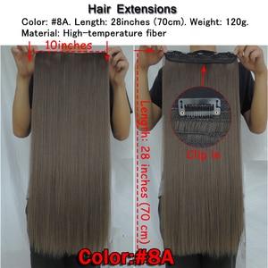 Image 2 - Wjz12070/8A 5 יחידות\חבילה Xi. סלעים סינטטי קליפ שיער הארכת אורך ישר פאה קליפים מט חלודה חום צבע פאות