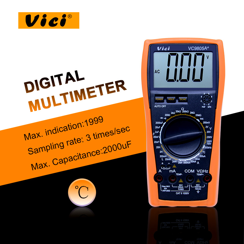 High presion Digital Multimeter full protection measure inductance frequency temperature electro VC9805A+ with high quality victor vc9805a  digital multimeter 2000