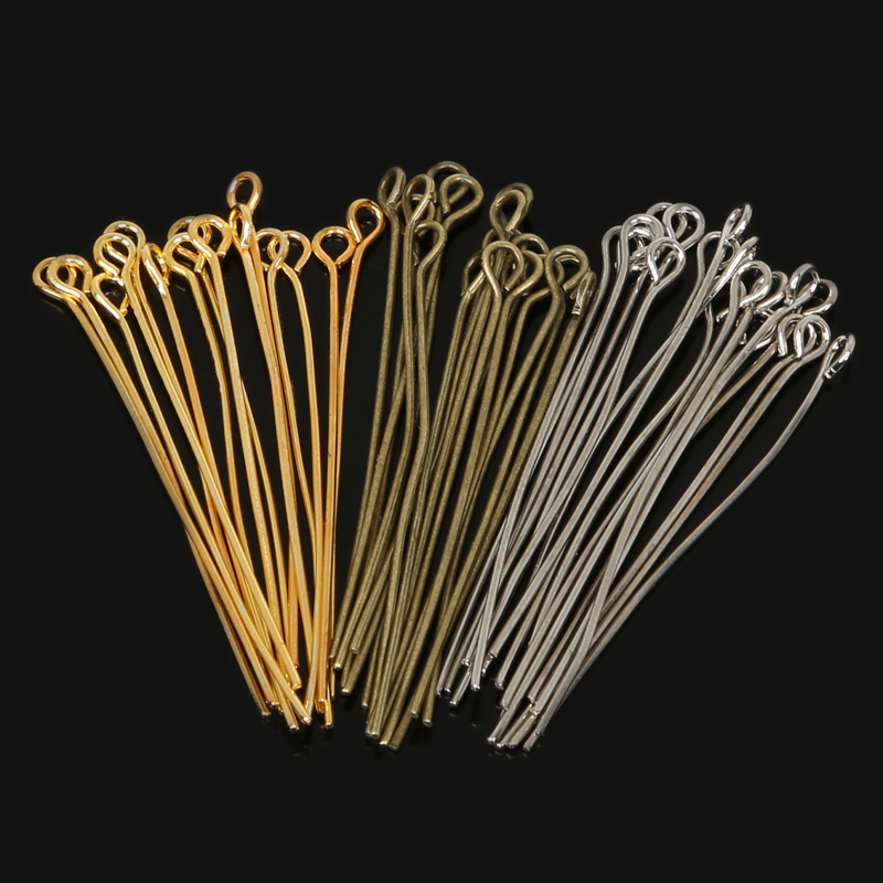 Honesty 2015 Fashion 300pcs/lot Gold/ Silver/rhodium Plated Head Pins Making Jewelry Diy Finding Head Pins Needles Length 40mm Jewelry & Accessories