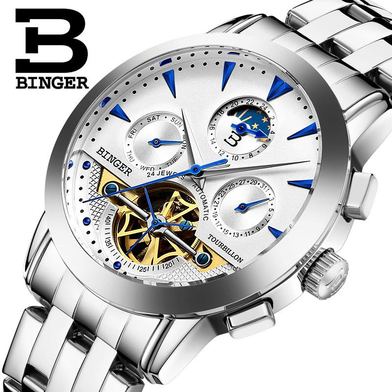 2017 NEW luxury men's watch BINGER brand Mechanical Tourbillon Wristwatches sapphire full stainless steel Moon Phase clock B1188 tevise men automatic self wind mechanical wristwatches business stainless steel moon phase tourbillon luxury watch clock t805d