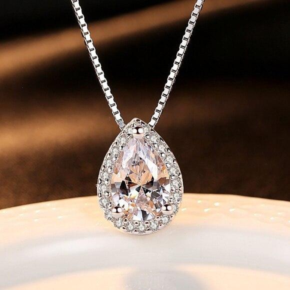 Dễ thương Nữ Pha Lê Zircon Đá Vòng Cổ Mới Thời Trang Cưới Trang Sức Boho Big 925 Sterling Silver Choker Necklaces Đối Với Phụ Nữ