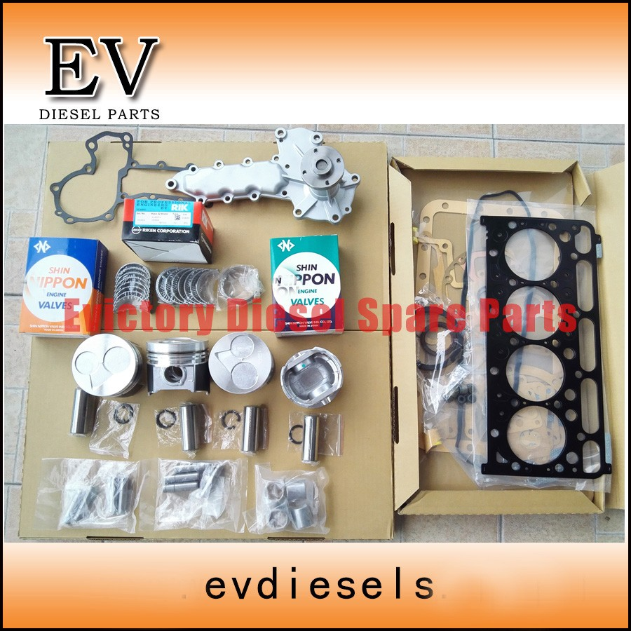 For Kubota tractor/excavator engine V2203T V2203 piston + piston ring + liner sleeves full gasket bearing valve water oil pump kubota water pump with gasket reference 15321 73032