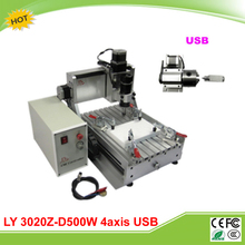 LY 3020Z-D500W USB 4 axis mini CNC engraver machine already assembled CNC 3020
