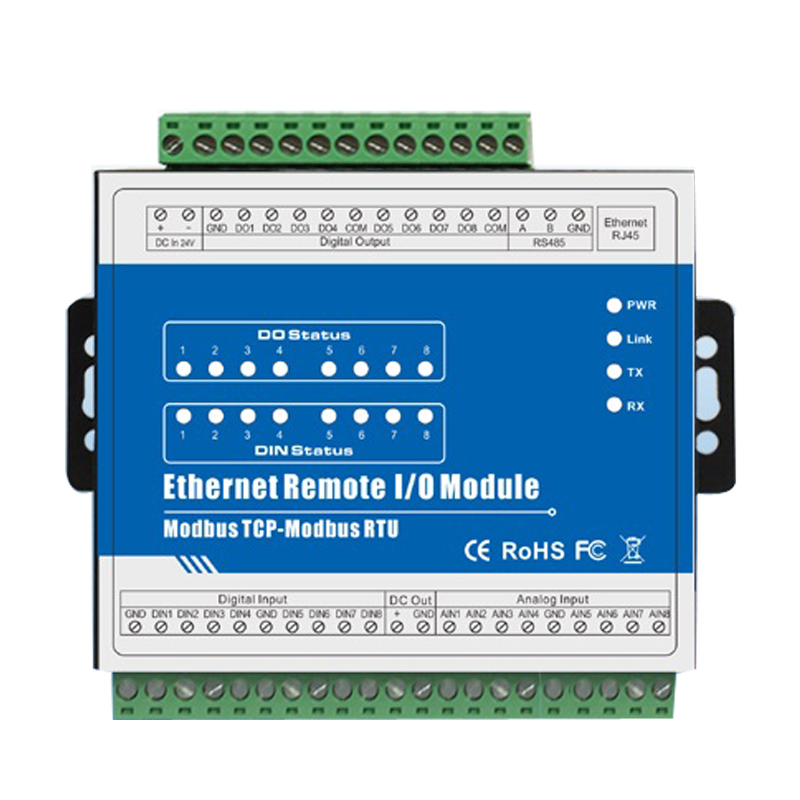 High Stability Modbus Tester Ethernet Remote IO Module 8 Optical isolated Digital Inputs Anti reverse Protection