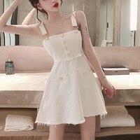 New Mini Summer Denim Dress Plus Size White Party Women Dress Zipper Jean Strap Dresses Off The Shoulder Dresses Female