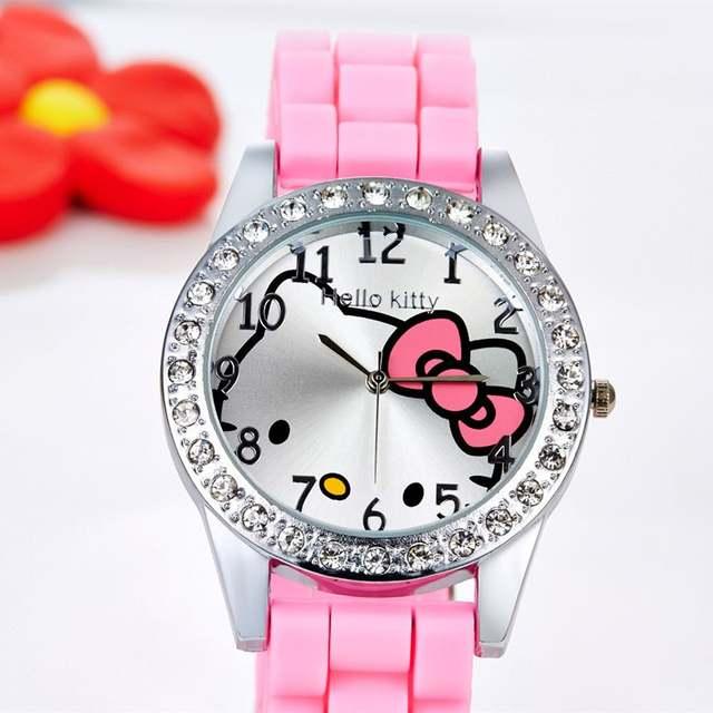 433999afc Children's Watches Hello Kitty Watch Rhinestone Cartoon Kids Watches For  Girl Designer Jelly Silicone Children's Watch reloj-in Children's Watches  from ...