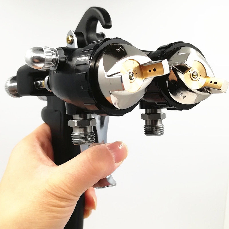 Nano Chrome Dual Head Pneumatic Sprayer Hot On Sales Professional Painting Tools water based glue spray