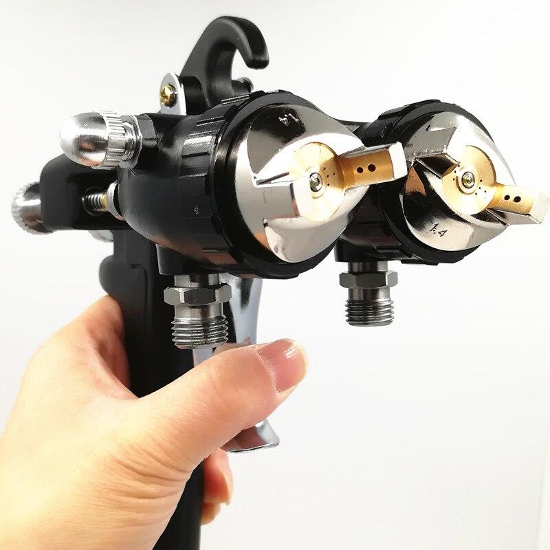 Nano Chrome Dupla Cabeça Pneumática Pulverizador Quente Sobre As Vendas, ferramentas de Pintura profissional-cola à base de água spray de 1.4 milímetros dupla arma Spraye