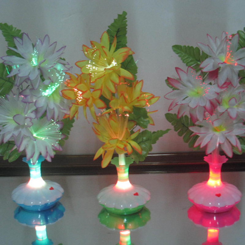 Cheap Price Electric Led Night Light Bedside Colorful Led Fiber Flower Lily Vase Shape Wall Lamp Glow Party Supplies
