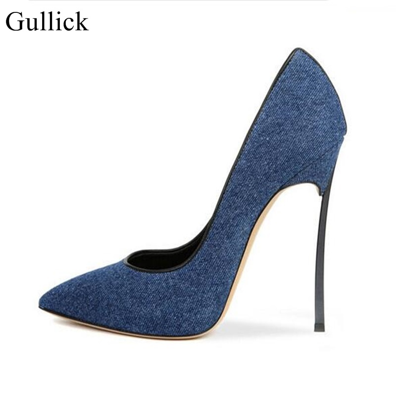 Hot Sale Women Dark Blue Denim Leather Pointed Toe Slip On Pumps Summer Fashion Metal High Heel Dress Shoes Free Shipping nayiduyun women genuine leather wedge high heel pumps platform creepers round toe slip on casual shoes boots wedge sneakers