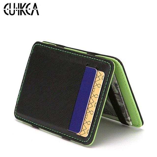 00c63ca0576d CUIKCA brand magic wallet money clip leather patchwork men slim wallet Green  orange purse women succinct id card case wallet