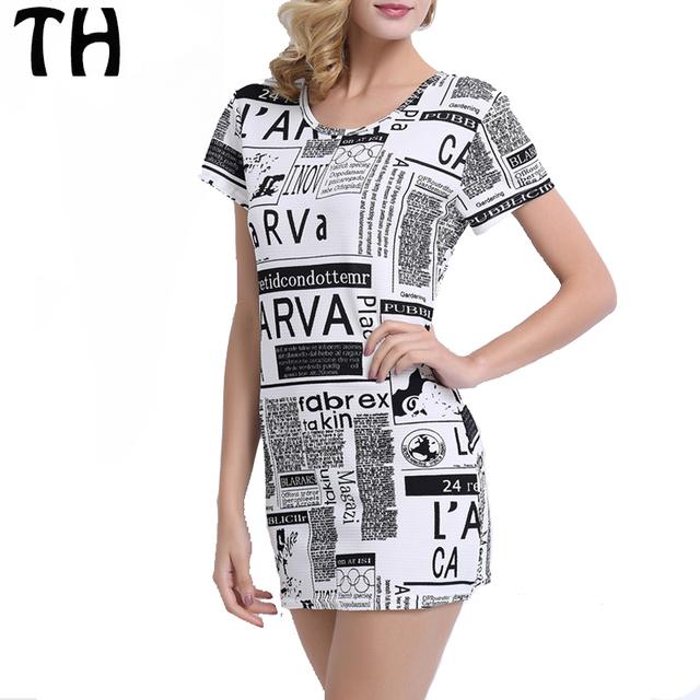 2016 verão estilo jornal lava carta impressão t vestido de camisa mulheres one piece mini vestido casual longas tees tops vestidos #160978