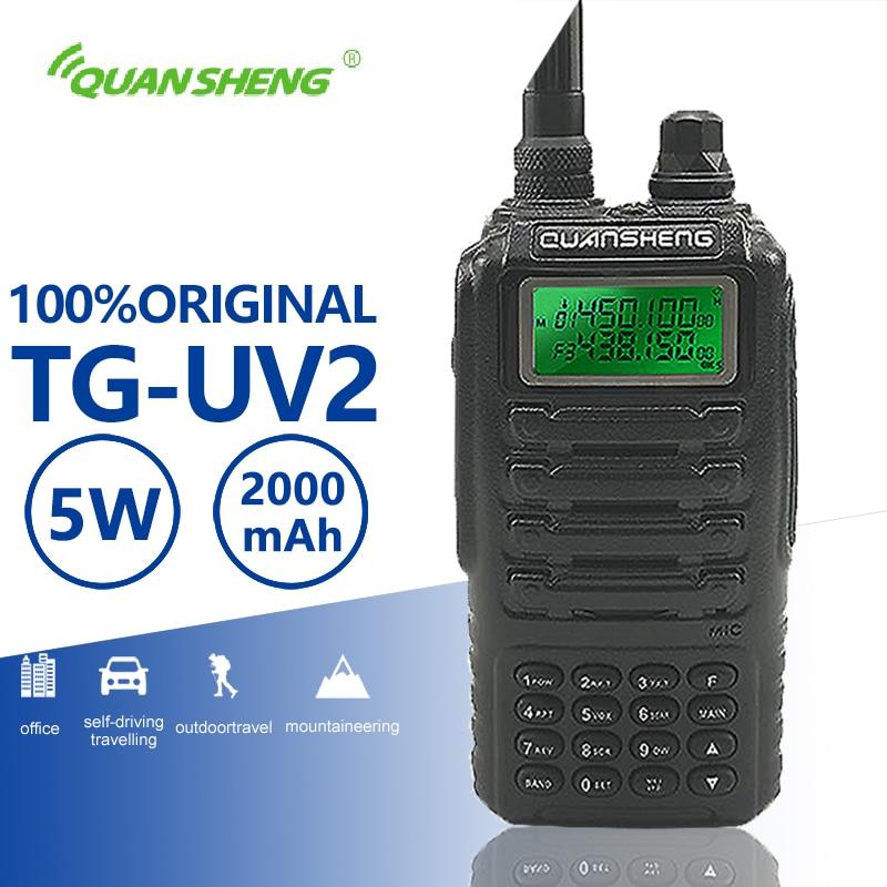 Quansheng TG-UV2 qualité supérieure Puissant 5 W Talkie Walkie VHF UHF Dual Band Ham Radio TG UV2 FCC CE Radio amateur Comunicador 10 KM