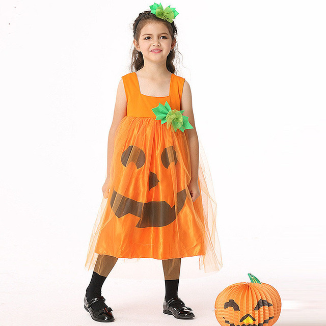 00d4bd52390a Fashion Girls Dress Pumpkin Tulle Party Dress Halloween Costume Festival  Princess Performance Kids Flower Vestido Clothes Kids