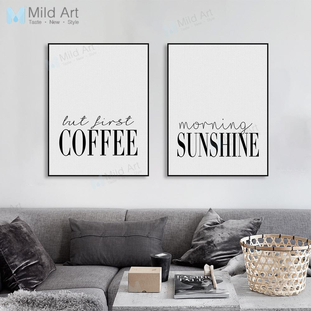 Modern Minimalist Coffee Sunshine Typography Poster Nordic Living Room Wall Art Print Picture Home Deco Canvas Painting Custom in Painting Calligraphy from Home Garden