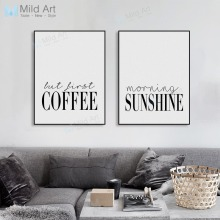 купить Modern Minimalist Coffee Sunshine Typography Poster Nordic Living Room Wall Art Print Picture Home Deco Canvas Painting Custom в интернет-магазине