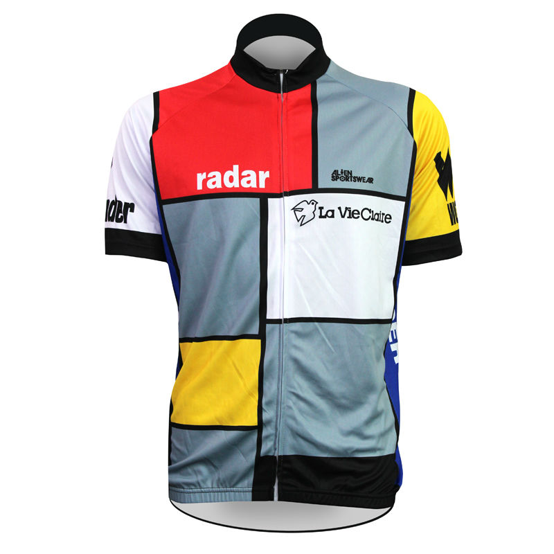 Alien Sports Wear Radar Pattern Cycling Jersey Men top Sleeve Multicolor Full Zipper Bicycle Clothing Size XS-5XL ILPALADIN