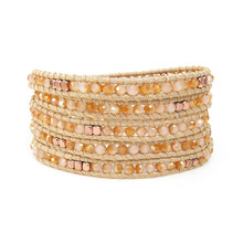 Bohemia Bracelets Trendy Faceted Crystal Bead Leather Wrap Bracelet Fashion Women String Cord Weaving Dropshipping