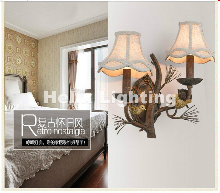 Newly Nordic Wall Lamp Free Shipping W43cm 2L American Country Style Nordic Fabric Shades Vintage Aisle Bird Design Wall Lamp
