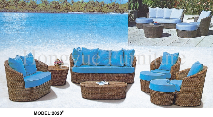 Brown wicker patio sofa set furniture with cushion and pillows